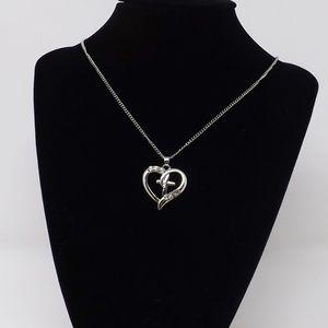 Silver Heart Cross CZ Necklace